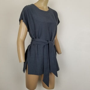 Mo:Vint NY Linen Belted Tunic Top Gray Size Small